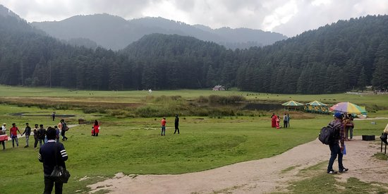 The Khajjiar Pond surrounded by mountains!