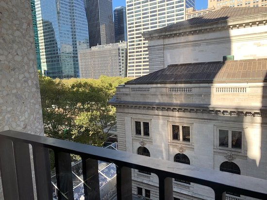 Lovely view of library and park from room, w/Juliet balcony and windows that actually open