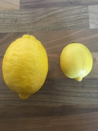 Italian lemons for our home-made limoncello compared to the ones in the UK! Crazy huh!