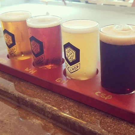 A flight of our (left to right) Pale Ale, Belgian Braggot, IPA, and Imperial Mocha Stout!