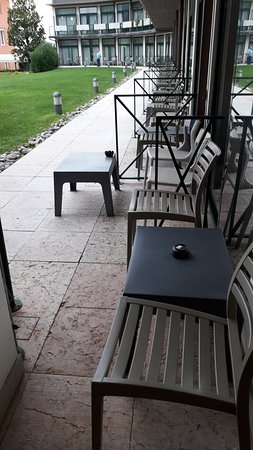 The first chair was in our allocated space - right next to the table with the ashtray