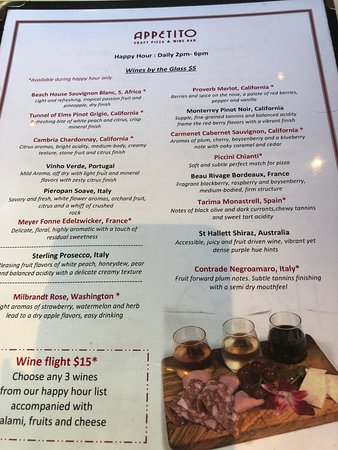 Menu with Wine Flight for $15 - 3 wines with small appetizer