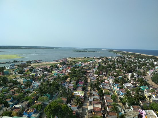 The view, to the North, from the top of the Pulicat lighthouse.  On clear days the structures at Sriharikota are visible.