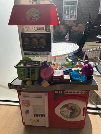 A selection of children's toys and books to keep your precious ones occupied, while you enjoy your meal.