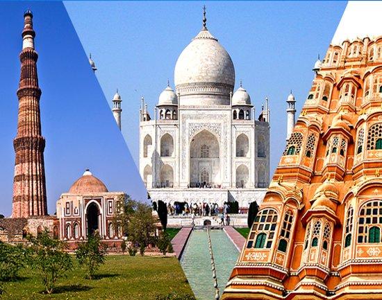 New Delhi, India: Qutab Minar / Taj Mahal / Hawa Mahal
