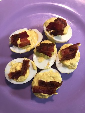 Aunt Sue's Deviled Eggs.  Was excited to taste with the hot sauce, but really didn't notice a kick.  Added my own hot sauce.  Still good either way!