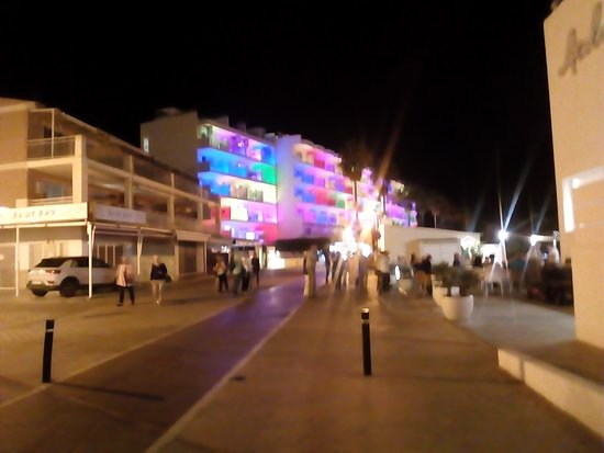 Front (sea facing) of Hotel Alicia lit up at night.
