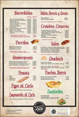 Bakery & Coffee Tito: Carta