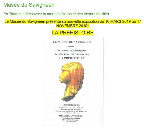 Musée du Savignéen 26. Exposition Temporaire - La Préhistoire - du 16 Mars au 17 Novembre 2019 à Savigné-sur-Lathan 37340. Octobre 2019.