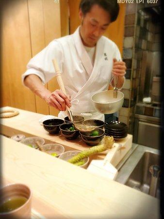 Chef Suzuki preparing the soup