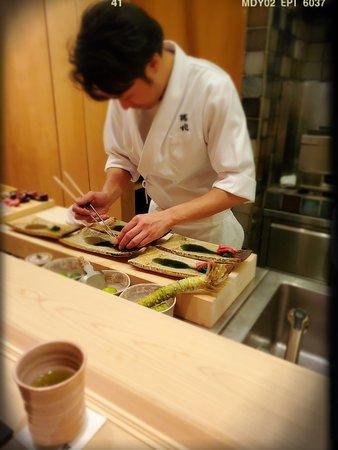 Chef Suzuki preparing the sashimi