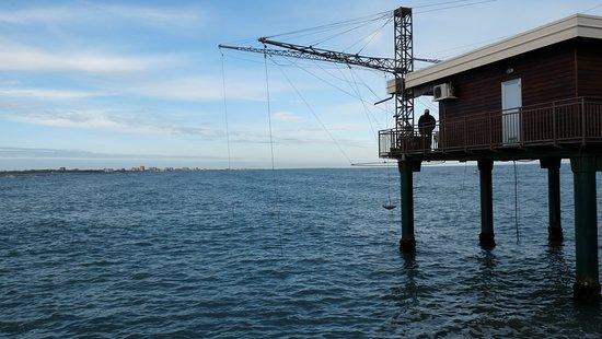 Capanno di pesca sul mare a Porto Garibaldi uno dei sette lidi di Comacchio (Ferrara)