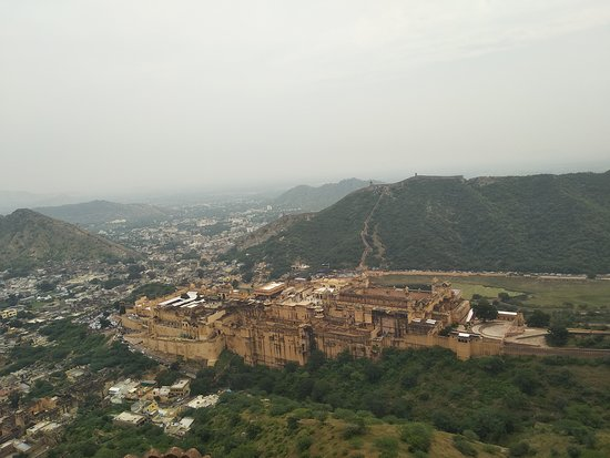 Jaipur, India: This Fort built in 1592 century by king of Man Singh l. There you can see the 12 kilometres wall with stapes around the village and fort.
