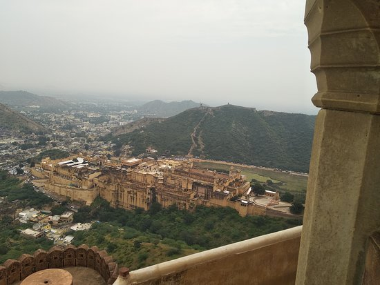 Jaipur, India: This of I took from top of hill. This monument name is Amber Fort. this Fort 11 km away from pink city that's located on Aravali hills. This is second beautiful monument in India.