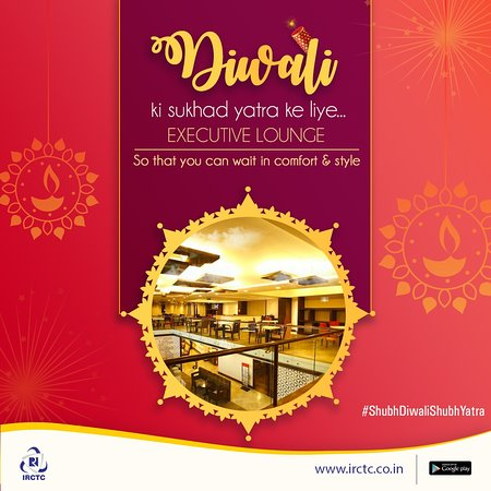 Avoid #Diwali rush in style by relaxing at the #IRCTC's Executive Lounge situated across major Railway Stations. Offering facilities like WiFi, wash & change, buffet meals, business centre, train information etc., you can book it in advance on  http://bit.ly/IRCTCLounge #ShubhDiwaliShubhYatra #irctc #irctcofficial #tourpackages #touristtrain #indianrailways
