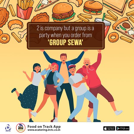 India: #Travelling with your group on a #train? Make bulk #bookings for a variety of hot & tasty meals from #IRCTC #eCatering #GroupSewa. To get your #fooddelivered on your seat/berth, #download #IRCTC #eCatering 'Food On Track' App/ www.ecatering.irctc.co.in / Call - 1323.
