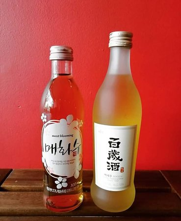 Korean drinks, plum wine and rice wine