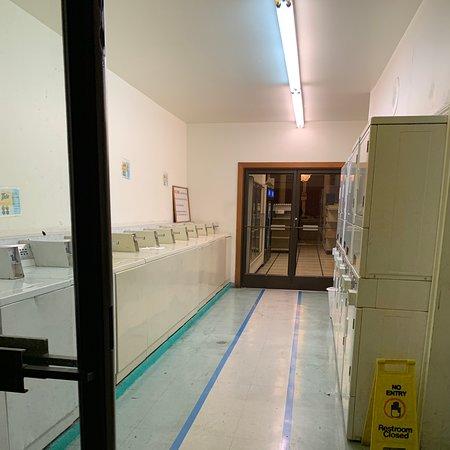 Salle de bains des femmes extrêmement dégoûtantes et malodorantes.