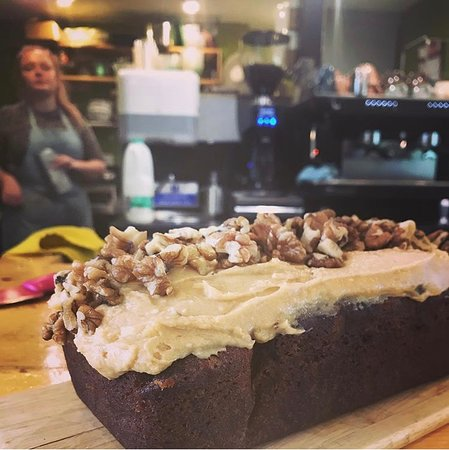 A coffee and walnut drizzle cake with coffee butter cream