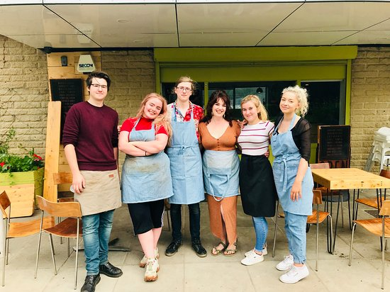 Some of our dream team after a busy day serving customers. Still smiling!