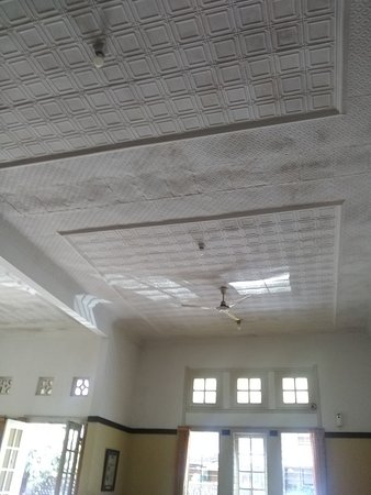 A hundred year ceiling, not gypsum, but embossed zinc plate. No more available today.