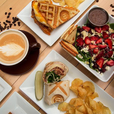 We are open from 6am to 10pm! Stop in for dinner and try a waffled Grilled Cheese, Jive Turkey Wrap, or a Spinach Strawberry Salad!