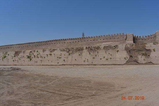 interior of wall showing walkway and semi circular defence positions