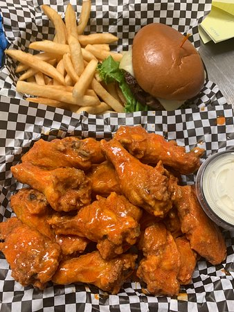 traditional wings, burger & fries