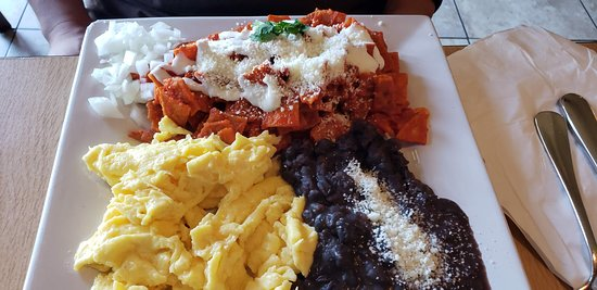 Chilaquiles- a must try! These chefs know their stuff. Crispy and full of flavor!  The eggs were delicious and the black beans were yummy. All in all, excellent breakfast.