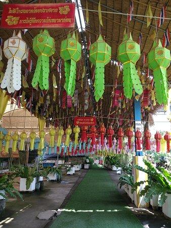 Colourfully festooned entrance to Wat Tha Ka Rong at Ayuthyya, Thailand