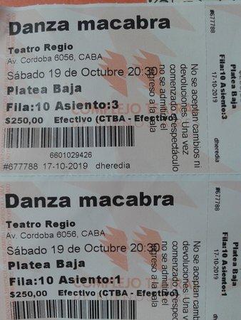 """Buenos Aires, Argentina: Teatro Regio: Entradas a la obra """"Danza Macabra""""- Bs.As. 2019."""