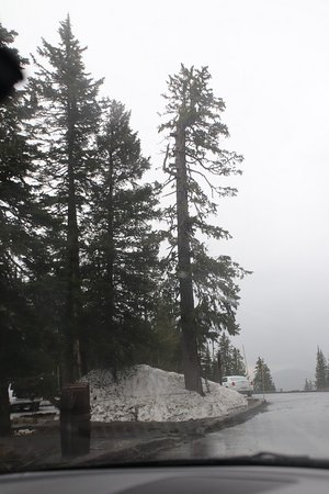 Mount Washburn with snow in the summer