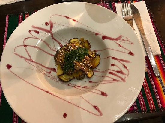 Fully hands-on High End Peruvian Cooking Class & San Pedro Market Guided Visit: Quinoa Crusted Alpaca tenderloin, andean chimichurri and roasted tubers