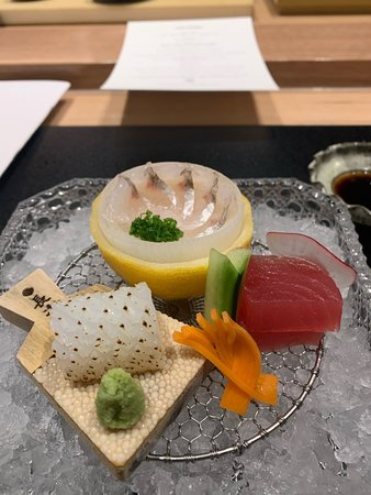 Sashimi course (King George Whiting, calamari, tuna)