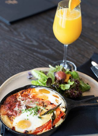 Skillet polenta breakfast with a perfect Mimosa. Brunch anyone?
