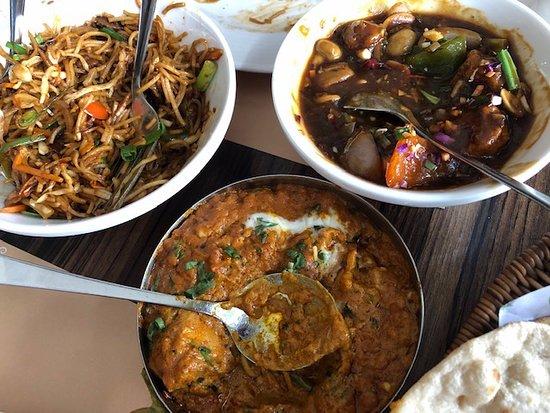 Left: Malaysian noodles Right: Kung Pao Chicken Bottom: Kadai chicken