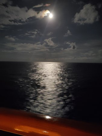 Carnival Glory: So romantic with the moon and ocean help make our 50th Wedding Anniversary Cruise great!!!