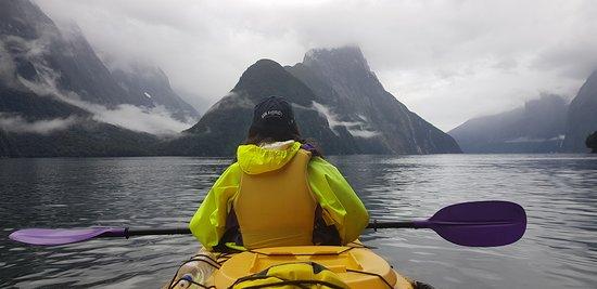 Sunriser Classic Sea Kayaking Trip from Milford Sound: Kayaking through the milford sound.