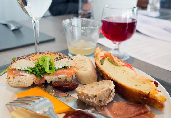 Bagel with salmon, cold cuts and cheese, savoury pies and other savoury brunch options