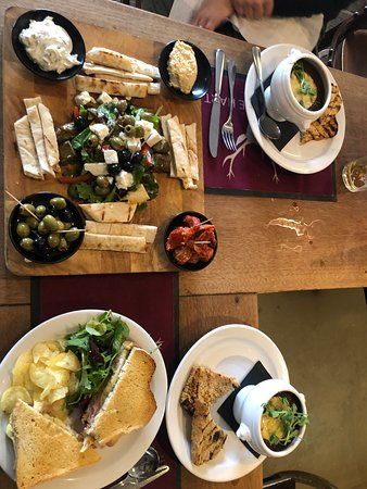 The mezze platter was delicious and beautiful.