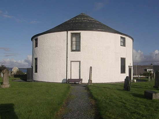 The round church from the graveyard side. Bowmore