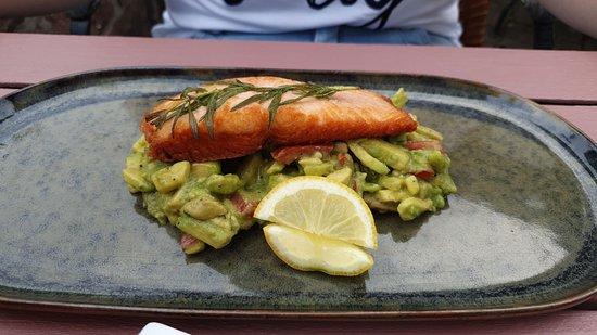 Lachs auf Avocado-Salat