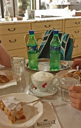 included in our online ticket - sprite, coffee of my choice, piece of strudel and excellent table up front.