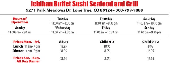 Hours and Buffet Price