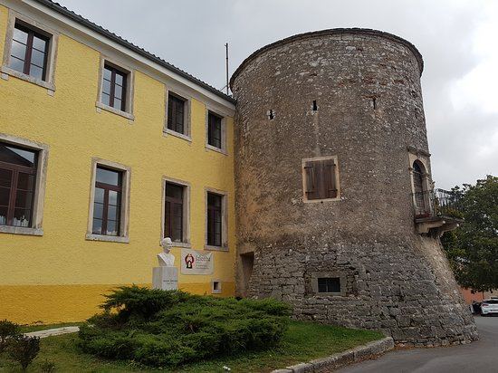 Library in Zminj with Chakavian House and medieval tower. Zminj, Istria, Croatia