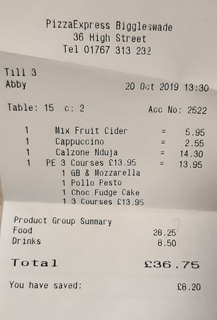 Pizza Express Receipt Picture Of Pizza Express