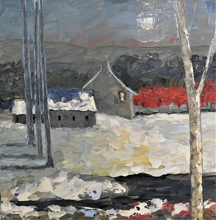 ''Ferme en hiver'' - 24'' x 24'' by Richard Riverin.  Soothing shades of blue and gray.