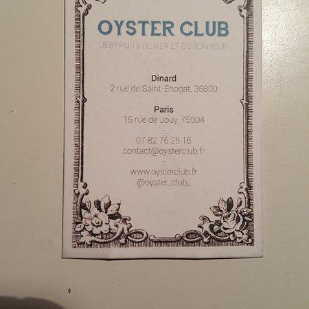 Carte Picture Of Oyster Club Paris Tripadvisor