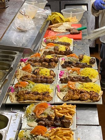 Chicken tawouk, lamb shish, mixed grill, with rice, with chips. All cooked fresh to order.