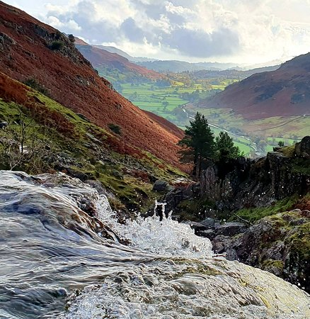 Autumn view from the top of Stickle Ghyll - looking out over Langdale Valley